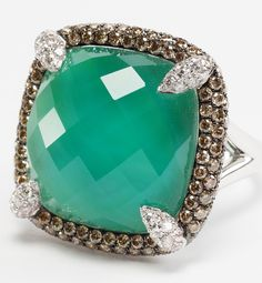 Green agate and diamond ring by Rina Limor