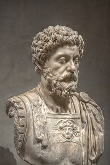 Marcus Aurelius--Latin: Marcus Aurelius Antoninus Augustus; 121-180 AD) was Roman Emperor from 161 to 180. He ruled with Lucius Verus as co-emperor from 161 until Verus' death in 169. He was the last of the Five Good Emperors, and is also considered one of the most important Stoic philosophers.