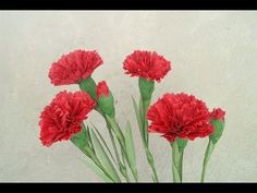 How To Make Red Carnation Paper Flower From Crepe Paper - Craft Tutorial #2 - YouTube