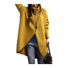 Turtleneck Asymmetric Hem Yellow Long Sleeve Sweater (42 CAD) ❤ liked on Polyvore featuring tops, sweaters, yellow, long turtleneck sweater, yellow turtleneck, yellow sweater, long pullover sweaters and long sleeve turtleneck