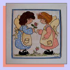 pareja de niñas. azulejo 30 x 30