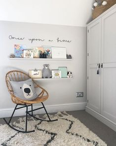 Baby Boy Nurseries - Nursery Reading Corner With Ikea Painted Ledges And Once Upon A Time Wire Sign - Image By Adam Crohill. Pale Grey, Neutral Nursery With Subtle Blush, Blue And Mustard Accents