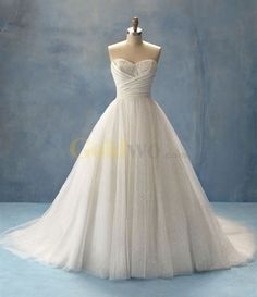 Ball Gown Sweetheart Strapless Cinderella Tulle Lace Wedding Dress for my 'small wedding' @Ashley Moss