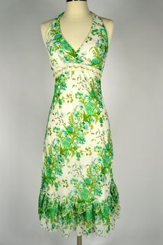 1970s Vintage Halter SUNDRESS with crocheted by MyrtleBedford, $39.50