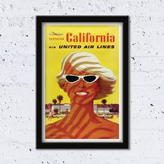 1970s Southern California // via United Air Lines // Artist: Stan Galli // High Quality Fine Art Reproduction Giclée Print / Vintage Poster by WiredWizardWeb on Etsy