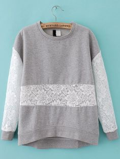 Grey Contrast Lace Long Sleeve Loose T-Shirt US$26.56 Sheinside