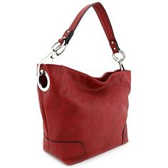Women's Hobo Shoulder Bag with Big Snap Hook Hardware Red: This solid large/medium size hobo shoulder bag with big snap hook silver hardware makes easy to organize your everyday items. Cute Handbags, Hobo Handbags, Purses And Handbags, Hobo Bags, Leather Bags Handmade, Leather Handle, Wallets For Women, Cool Gifts, Zip Around Wallet