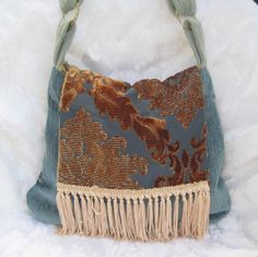 Crossbody Hippie Bags and Purses, Hobo Purse, Bohemian, Blue Chenille Boho Bag