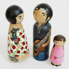 CUSTOM peg doll family of 3 with arms // tattooed por PegandPlum