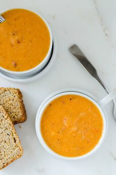 Roasted Red Pepper Potato Soup made with 0% Plain Chobani