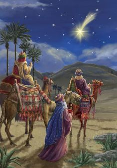 The Star of Bethlehem.The three wise men Christmas Nativity Scene, Christmas Scenes, Noel Christmas, Vintage Christmas Cards, Christmas Pictures, Christmas Greetings, Winter Christmas, Nativity Scenes, The Nativity