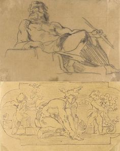 Eugène Delacroix, A STUDY FOR THE ORPHEUS GROUP IN THE PEERS' LIBRARY AND TWO STUDIES FOR MERCURY AND MARS FROM THE SALON DE LA PAIX: THREE DRAWINGS