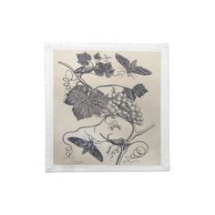 Dinner Napkins - Vintage Grapevine  Cloth napkins – set of 4. Beautiful cotton napkins decorated with a vintage image of grapevines ...