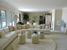 Adorable white living room Decor, Furniture, Room, Home, Sofa, Sectional Couch, Large Living Room, White