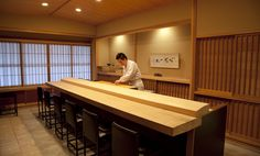 Sushi bar - with tradition and proper wooden counter.