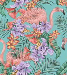 Flamingo Club by Matthew Williamson - Jade, Lavender & Coral - Wallpaper : Wallpaper Direct Coral Wallpaper, Flamingo Wallpaper, Tropical Wallpaper, Fabric Wallpaper, Matthew Williamson, Flamingo Decor, Pink Flamingos, Flamingo Club, Flamingo Fabric
