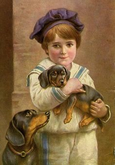 Vintage postcard featuring Young lad in sailor suit with two dachshunds -- by artist Carl Reichert (Austrian, 1836–1918)