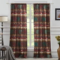 Greenland Home Fashions Canyon Creek Patchwork Semi-Sheer Tap Top Curtain Panel Rustic Bedroom Decor, Home, Curtains, Striped Room, Greenland Home Fashions, Bedroom Decor Design, Curtain Styles, Lush Decor, Cool Curtains