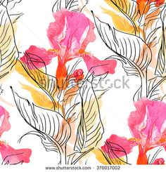 seamless pattern Watercolor Hand drawn doodle art Pink Iris and leaves - stock photo