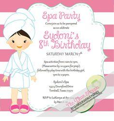 Spa Party Invitation Spa invitation DIY by GlamourAvenueParties