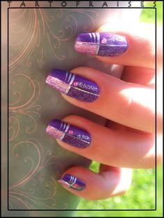 Nail Art - Red and Yellow - Mirror and stickers - Pink City - * Tartofraises: Nail Art on natural nails *