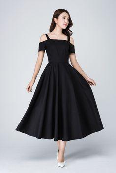 Little Black dress, off shoulder dress,short sleeve dress,party dress, Black dress,vintage style dress, prom dress, linen dress woman 1576 by xiaolizi on Etsy https://www.etsy.com/listing/53045496/little-black-dress-off-shoulder