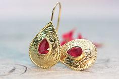 Ruby Earrings Drop Earrings Boho Gold Earrings Ethnic Gold | Etsy