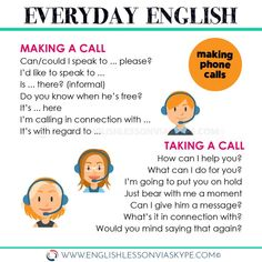 How to make a call in English. How to take a call in English. Useful English vocabulary words and phrases. English Learning Spoken, Learn English Grammar, English Writing Skills, Learn English Words, English Idioms, English Phrases, English Language Learning, English Study, English Lessons