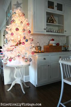 Christmas Kitchen - love the white Shiny Brite tree! eclecticallyvintage.com