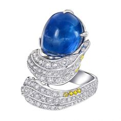 Yael Sonia Jewelry  RINGS | 18k gold ring Natural blue Sapphire cabochon (ceylan) and Diamonds by ...
