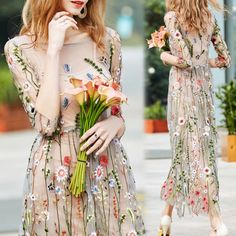 New-Fashion-Women-Embroidered-Lace-Floral-Long-Sheer-Tunic-Embroidery-Mesh-Dress
