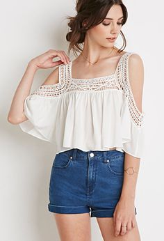 Crocheted Open-Shoulder Crop Top white with jean shorts PopYourChic White Patchwork Cut Out Lace Hollow-out Condole Belt Blouse An error has occurred, please send an error report Need great helpful hints concerning women's fashion? Beauty And Fashion, Boho Fashion, Fashion Outfits, Fashion Trends, Fashion Ideas, Fashion Art, Super Moda, Crochet Yoke, Casual Outfits