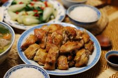 Roasted Salted Chicken (chicken, sea salt, ginger, shaoxing wine, all spice, sesame oil)