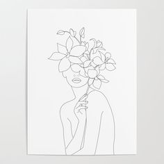 Minimal Line Art Woman with Orchids Poster by - Banish those blank walls: Posters are the most convenient way to bring rad art to your space. Art Sketches, Art Drawings, Diy Frame, Line Drawing, Diy Art, Female Art, Art Inspo, Art Projects, Artsy
