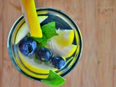 Blueberry, Lemon, and Mint Water is like sunshine in a glass, and full of vitamin C. Omit the honey, or sweeten to taste with stevia.