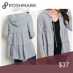 PREORDER Adorable ruffle Heather gray cardigan Hoodie cardigan in Heather gray in soft material Sweaters Cardigans