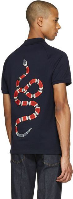 Gucci - Navy Snake Back Polo
