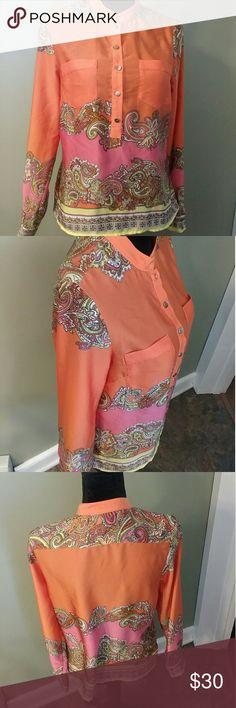 H&M orange pink boho blouse size 6 small Like new H&M Tops Blouses