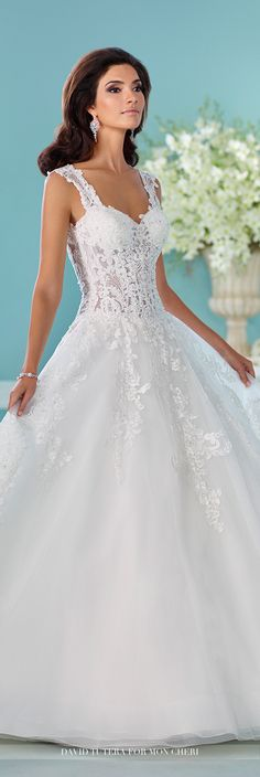 David Tutera for Mon Cheri Fall 2016 Collection - Style No. 216252 Nilam - full A-line lace and tulle wedding dress with sheer corseted bodice