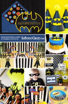 Batman birthday party games decoration online invitations superheroes superhero LaBelleCarte Kids Birthday Party Online Invitations at: http://labellecarte.com/en