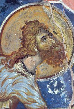 Άγιος Ιωάννης ο Πρόδρομος λεπτομέρεια από την Βάπτιση του Χριστού Ιερά Μονή Βατοπαιδίου ,Άγιον όρος