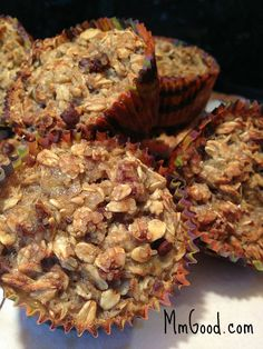 Only 100 calories per each Oatmeal Banana Muffin, a great pick me up for the middle of the day or a great grab and go for breakfast | MmGood.com