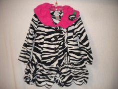 Mack & Co Toddler Size 3T Fleece Black/White Zebra Button Girl Shirt Jacket…