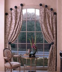 How to Make Window Scarf Holders Curtain Rods and Drapery Hardware for Curtain, Drapes, Valance on Knobs drapery panel patterns for the latest designs for high-end window treatments. I searched for this on /images Scarf Curtains, Window Scarf, Hanging Curtains, Drapes Curtains, Curtain Valances, Layered Curtains, French Curtains, Brown Curtains, Home Decor Ideas