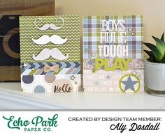 *Echo Park* Masculine Card Set - Scrapbook.com - Perfect colors and embellishments for masculine cards.
