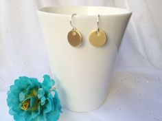 GOLD TAG EARRINGS - Matte Gold Pewter Disc Earrings - Matte Gold Tag Earrings by JazziGems on Etsy