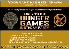 Hunger Games Party Printables - Personalized invitations, favors, and district badges Hunger Games Party, Video Game Party, Party Games, Party Party, Personalized Invitations, Party Invitations, Invites, Party Favors, Games For Teens
