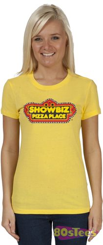 This Ladies Showbiz Pizza shirt features the logo for the chain of pizza restaurants which thrived in the early 80's.  In addition to pizza the restaurants had arcades and a robotic band, The Rock-Afi