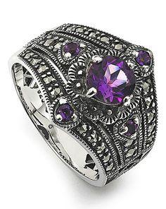 Amethyst & Marcasite Vintage Look Ring | Simply Be