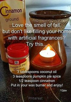 Coconut Oil Uses - Instead of wax tarts in your tart burner use coconut oil and cinnamon as a natural alternative 9 Reasons to Use Coconut Oil Daily Coconut Oil Will Set You Free — and Improve Your Health!Coconut Oil Fuels Your Metabolism! Do It Yourself Furniture, Do It Yourself Home, Wax Burner, Do It Yourself Inspiration, Style Inspiration, Coconut Oil Uses, Home Scents, Diy Fall Scents House Smells, Scents For The Home